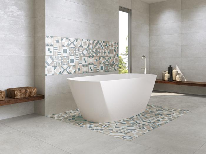 Betonlook Tegels Badkamer : Badkamer
