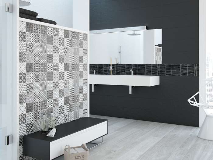 Wandtegels Badkamer Zwart : Wandtegel