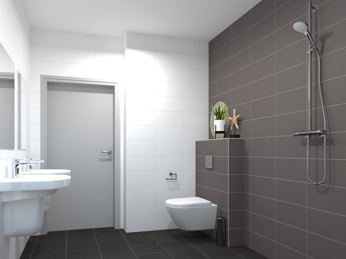 Grijze Vloertegels Badkamer.Badkamertegels